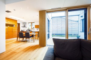 Okolo atria. Dispozice domu se odvíjí okolo atria, do něhož jsou orientovány denní prostory ajedna zložnic. Před nepřízní počasí ho chrání skleněná střecha, před přehříváním žaluzie astřešní markýza. Domácí si tak mohou svůj obytný prostor rozšířit do exteriéru po velkou část roku. FOTO DANO VESELSKÝ