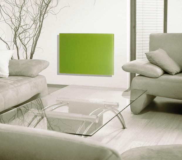Sklo je materiál, který je velmi estetickým anadčasovým doplňkem vkoupelnách, obytných místnostech ivrůzných reprezentativních prostorech. Sálavé GR panely jsou proto vhodné do všech místností vašeho bytu či domu. Vybírat přitom můžete zněkolika výkonů abarev, na stěnu lze GR panely umístit na výšku ina šířku. FOTO FENIX JESENÍK