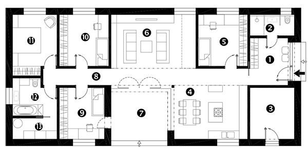 Půdorys 1 předsíň 2 koupelna 3 sklad 4 kuchyň ajídelna 5 pokoj pro hosty 6 obývací pokoj 7 atrium 8 chodba 9 dětský pokoj 10 dětský pokoj 11 ložnice rodičů 12 koupelna 13 technická místnost