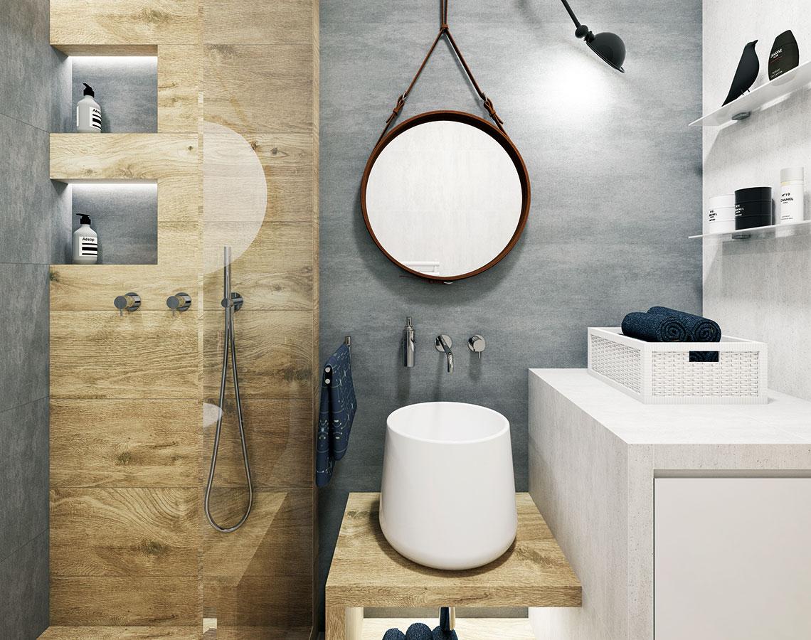 Přírodní koupelna ve skandinávském stylu. Severské pojetí malým koupelnám sluší a přináší mnoho praktických řešení s estetickou kvalitou. Autorkou návrhu je Katka Petkovšek ze studia Perfecto design. FOTO PERFECTO DESIGN