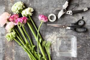 Materiál a nářadí hranatá skleněná váza průhledná lepicí páska nůžky zahradnické nůžky pryskyřník (Ranunculus)