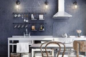 Jako vrestauraci. Charakteristickými prvky industriální kuchyně jsou otevřené police anerezové regály, zavěšené kuchyňské náčiní, zkrátka vše po ruce. Aby bylo snazší udržovat vtakových podmínkách pořádek, vylepšili mladí architekti úložný systém dřevěnými bedýnkami. FOTO INT2ARCHITECTURE