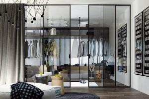 Celoskleněné dveře apříčky spolehlivě nahradí stěnu, aniž by zabraly příliš mnoho prostoru aznemožnily světlu cestu do celého interiéru. Soukromí si zajistíte výběrem skla vjiné než čiré variantě – pískovaným, barevně tónovaným sklem nebo Grafosklem svnitřním motivem. FOTO KPP