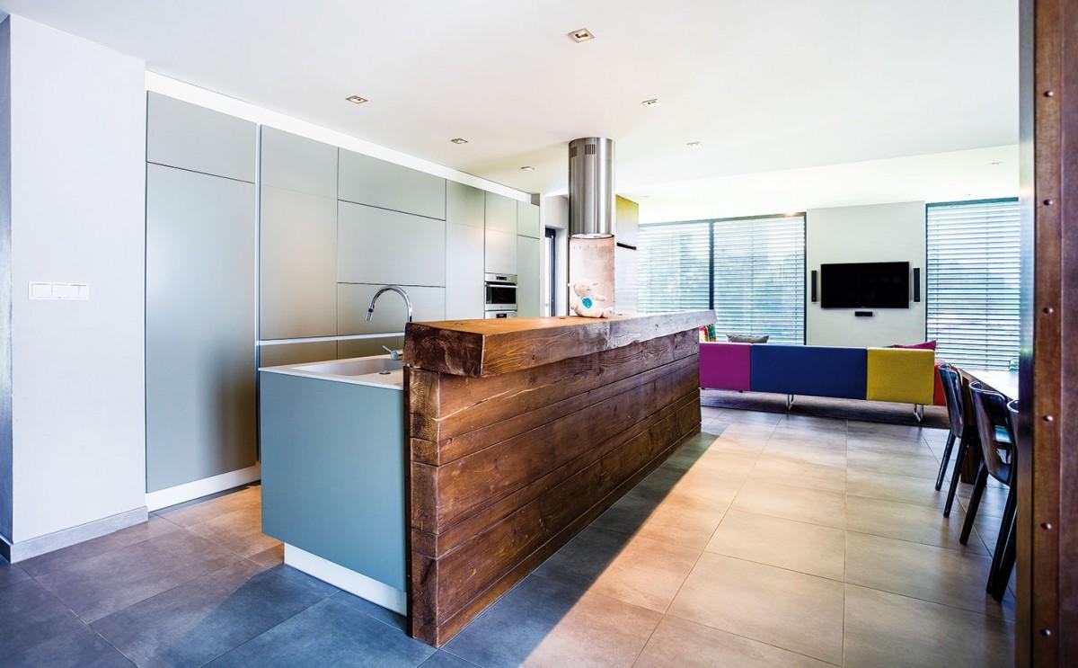 Požadavkem majitelů byly nízké nároky na údržbu domu. Jejich přání řeší množství nenápadných avelmi praktických úložných prostor. Šedá kuchyňská linka skrývá všechny nezbytné spotřebiče. FOTO WIENERBERGER