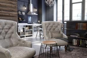 Křišťálový lustr vpozadí, který dominuje prostoru nad jídelním stolem, dodává interiéru francouzský šarm anádech romantiky. FOTO INT2ARCHITECTURE