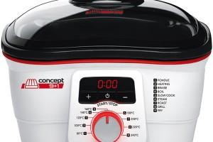 Concept CK7070, multifunkční hrnec snepřilnavým povrchem, 6 v1: fritéza, parní hrnec, kontaktní gril, fondue, přenosný gril aelektrická pánev, 2999 Kč