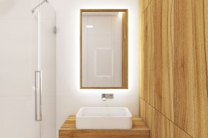 """Minimalistická koupelna Guest. Dřevěný dekor v kombinaci s bílými plochami a komponenty i proskleným koutem působí elegantně a nadčasově. Bílá barva a sklo dodají prostoru vzdušnost a dojem prostornosti, dřevo je příjemně """"zateplí"""". FOTO PERFECTO DESIGN"""