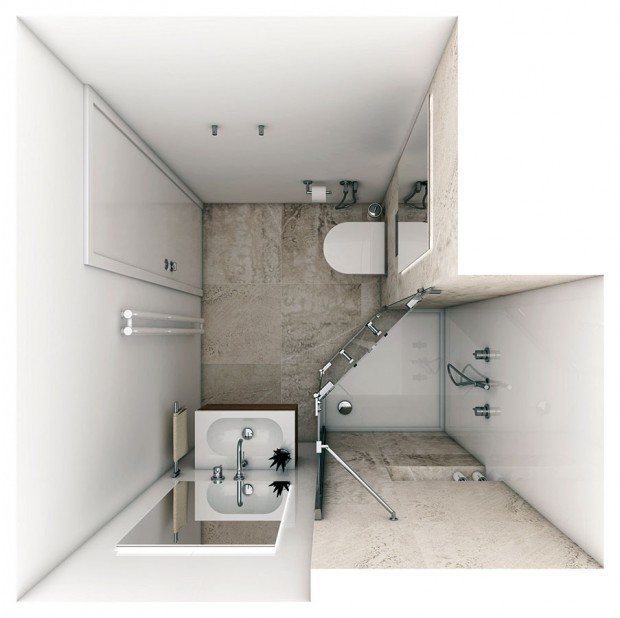 Koupelna Mini vznikla rekonstrukcí nevyhovující koupelny v novostavbě bytového domu na půdorysu o rozloze 3,1 m2. Autorkou návrhu je Katka Petkovšek ze studia Perfecto design. FOTO PERFECTO DESIGN