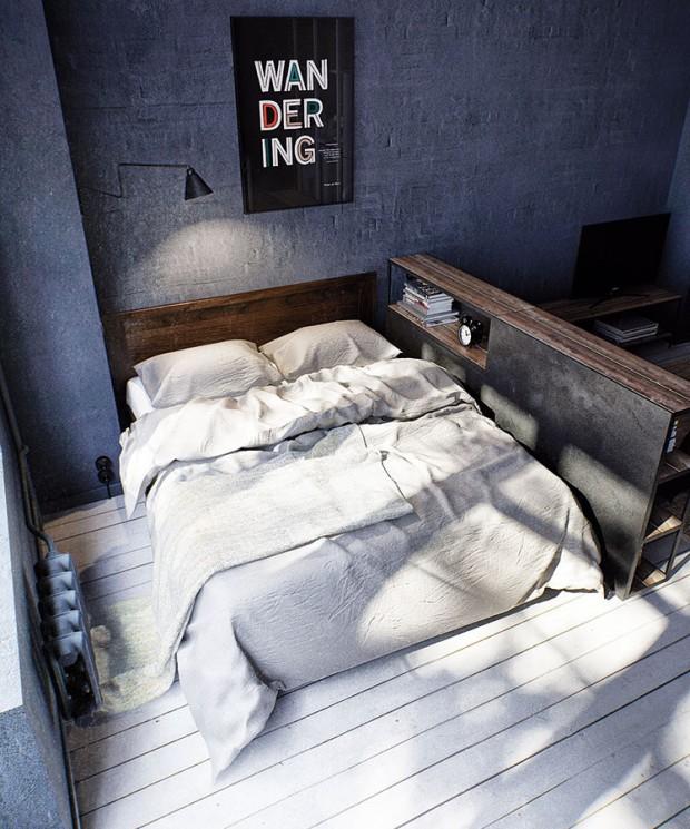 Kout na spaní je minimalistický, ale najdete tu vše, co ložnici nesmí chybět. Postel má přístup alespoň ze dvou stran, světlo pro čtení před spaním zajišťuje lampička na stěně a knížky i odkládací plochu zase poskytne důmyslně řešená knihovna, která zároveň rafinovaně řeší předěl dvou zón. FOTO INT2ARCHITECTURE