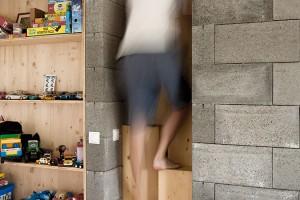 Strmé mlynářské schody (se střídavými stupni), či spíše zvláštní žebříky, které vedou do podkrovních částí nad betonovými bloky, se staly ozvláštňujícím prvkem domu. FOTO ERIKA BÁNYAYOVÁ AMARTIN BOLEŠ