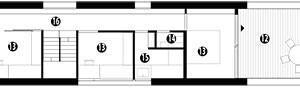 Půdorys poschodí 11 terasa 12 zasedací místnost 13 ložnice 14 WC 15 koupelna 16 chodba 17 obytný prostor, herna