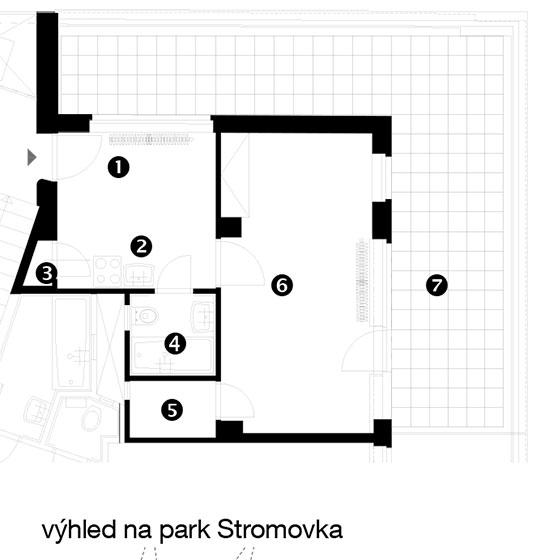 Půdorys původního stavu 1 zádveří 2 kuchyňský kout 3 komora 4 koupelna stoaletou 5 sklad 6 obývací pokoj se spaním 7 terasa