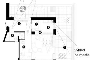Půdorys návrhu 1 zádveří 2 koupelna stoaletou 3 šatník 4 obytný prostor skuchyní ajídelním sezením 5 spací kout 6 pracoviště 7 terasa