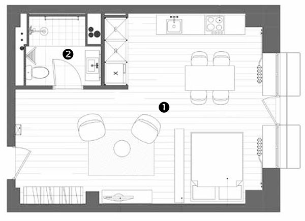 1 obytná místnost 36,8 m2 2 koupelna 4,4 m2 celkem 41,2 m2