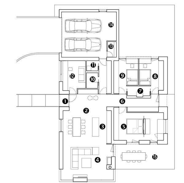 Půdorys 1 vstup do domu 2 jídelna 3 kuchyň 4 obývací pokoj 5 ložnice 6 chodba 7 dětská koupelna 8 dětský pokoj 9 dětský pokoj 10 koupelna 11 toaleta 12 pokoj pro hosty (vbudoucnosti dětský pokoj) 13 technická místnost 14 garáž 15 terasa