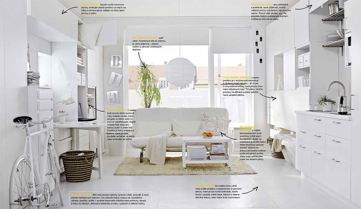 Nebojte se bílé. Bílá malý prostor opticky výrazně zvětší, prosvětlí anavíc působí nadčasovým dojmem. Oku lahodící barvy vnesou do neutrálního základu doplňky: solitér vpodobě barevného křesílka nebo pohovky, obrazy afotky na stěnách, dekorační předměty aknihy vpolicích či dětské hračky. FOTO IKEA