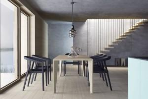 Jídelní stůl vjakékoliv podobě je pro obytnou kuchyň klíčový. Stůl JS32 od firmy Hanák vpříjemném dubovém provedení harmonicky doplní moderní kuchyňskou linku. FOTO HANÁK NÁBYTEK