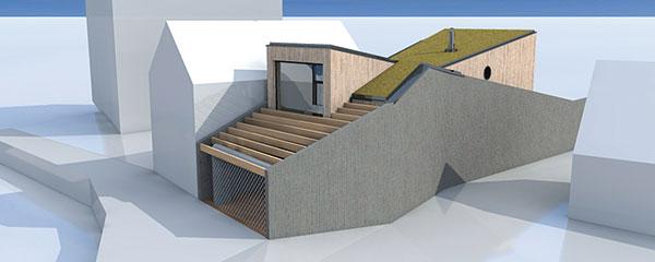 """Uliční fasádou se dům začlenil do existující starší zástavby avduchutradiční """"řadovky"""" vyplňuje celou šířku proluky. Vůči sousedním objektům ho vymezují dlouhé boční stěny, které kopírují hranice parcely."""
