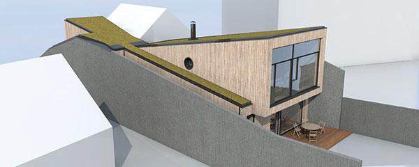 Zadní zasklená fasáda se otevírá na jih, do zahrady. Tvar stavby sprotisměrným sklonem pultových střech, který připomíná ležící přesýpací hodiny, pomohl zabezpečit prosvětlení úzkého domu, jeho větrání izásobování teplem.