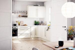 Variabilní řešení, jakým jsou dvoukřídlé dveře (které umožní kuchyň úplně otevřít, ale iuzavřít), pomůže těm méně rozhodným. Toto řešení se nejlépe uplatní, je-li vprostoru dostatek oken. FOTO B&Q