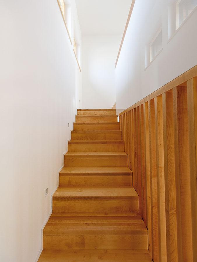 Dřevo abílá omítka – nesmrtelná kombinace. Na jednoduchém schodišti tyto dva materiály úplně stačily kvytvoření příjemné atmosféry. Foto Dano Veselský