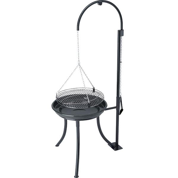 Tenneker TC-Swing, závěsný gril na dřevěné uhlí, ohniště ze smaltované oceli, rošt z6mm nerezové oceli, průměr grilovací plochy 52 cm, prodává Hornbach, 4690 Kč