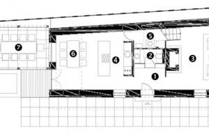 Půdorys přízemí 1 předsíň 2 koupelna 3 obývací pokoj 4 kuchyň 5 komora, technická místnost 6 jídelna 7 terasa