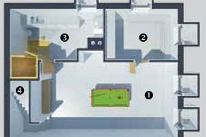 Půdorys suterénu 1 pobytový prostor (biliár) 2 pokoj pro hosty 3 technická místnost, koupelna, sauna 4 schody