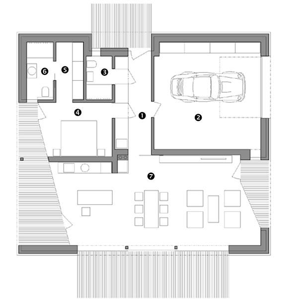 Půdorys 1. NP 1 chodba 10,76 m2 2 garáž 36,06 m2 3 koupelna/WC 3,55 m2 4 ložnice 12,15 m2 5 šatna 5,04 m2 6 koupelna/WC 4,87 m2 7 obývací pokoj/jídelna/kuchyně 52,43 m2