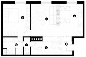 Půdorys návrhu 1 zádveří 2 kuchyň 3 obývací pokoj 4 pracovní kout 5 ložnice 6 koupelna 7 WC