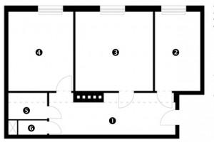 Půdorys původního stavu 1 chodba 2 kuchyň 3 obývací pokoj 4 ložnice 5 koupelna 6 WC