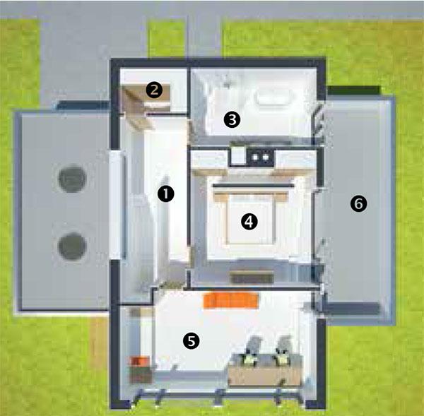 Půdorys poschodí 1 schody 2 šatna 3 koupelna 4 ložnice 5 dětský pokoj 6 střešní terasa