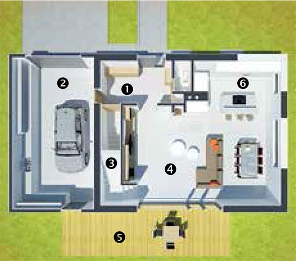 Půdorys přízemí 1 předsíň 2 garáž aprostor na zahradní techniku 3 schody 4 otevřený denní prostor 5 terasa 6 WC