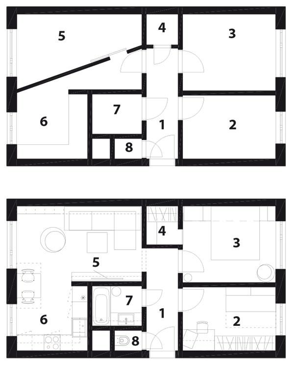 Půdorys 1 předsíň, 2 pokoj, 3 ložnice, 4 šatna, 5 obývací pokoj, 6 kuchyň, 7 koupelna, 8 WC
