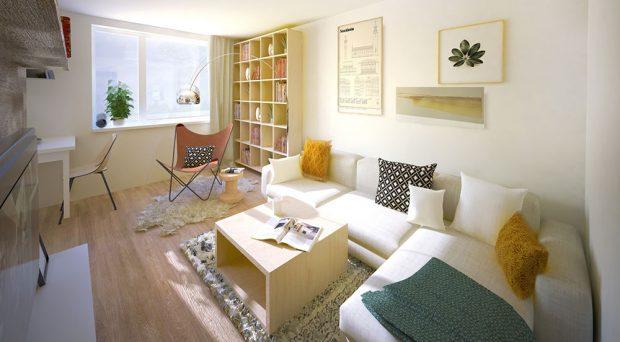 Čtenářský koutek v rohu místnosti má dostatek světla - ve dne díky oknu, v noci jej poskytuje designová lampa, nejlepší přítelkyně každého čtenáře.