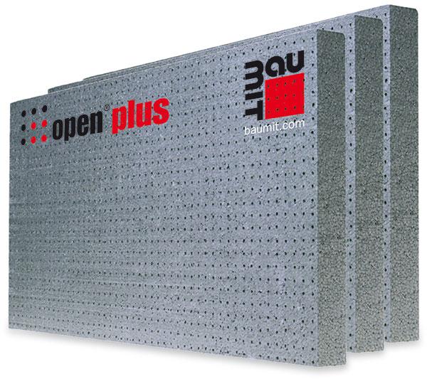 Společnost Baumit inovovala tradiční fasádní polystyrenové desky azlepšila jejich paropropustnost až na hodnotu µ ≤ 10 díky pravidelnému rastru otvorů prostupujících skrz desku. Otvory jsou navrženy tak, aby zajišťovaly masivní odvod vodních par zkonstrukce, nesnižovaly tepelněizolační vlastnosti aneumožňovaly proudění vzduchu. Nesou označení Baumit open.