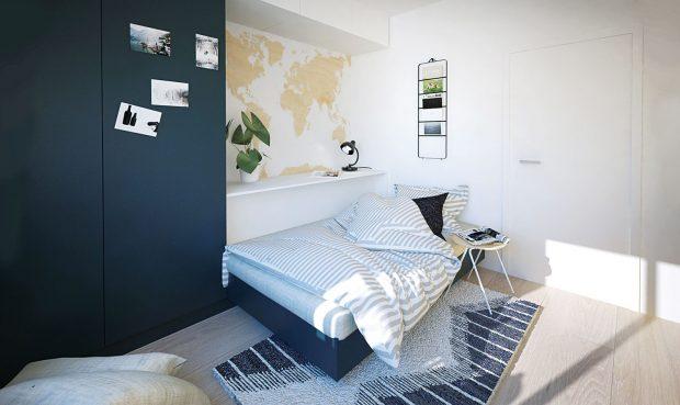 Výsuvná postel se přes den pomocí polštářů změní vsedačku. Tímto způsobem se vprostoru spojily dva velké kusy nábytku do jednoho, které by se tam jinak nevešly. NÁVRH LUCIA KUŠNÍROVÁ