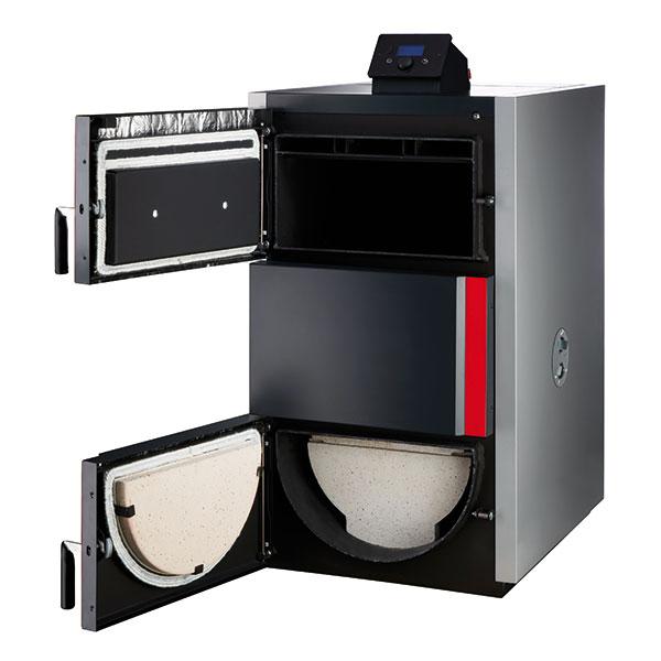 Úsporné zplynovací kotle Dakon SP Pyro jsou vhodné pro spalování suchého kusového dřeva, mají vysokou účinnost spalování díky předehřátému vzduchu anavíc možnost nastavení primárního asekundárního vstupu vzduchu pro různé druhy dřeva. Kotel splňuje přísné podmínky třídy 5 dle normy ČSN EN 303-5. Velká přikládací dvířka umožňují spalovat dřevěná polena odélce až 50 cm dle daného typu kotle. Foto BOSCH