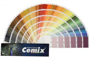 Pastovité omítky Cemix CEMROLL se dají probarvit dle vzorníku Cemix duhově krásný. zdroj: LB Cemix