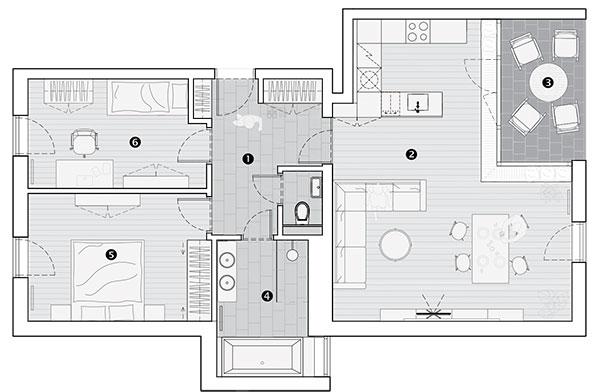 Půdorys 1 hala 2 obývací pokoj 3 lodžie 4 koupelna 5 ložnice 6 dětský pokoj