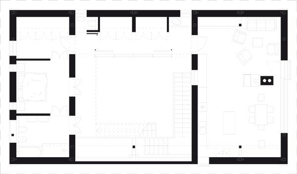 Ve zrekonstruované stodole jsou tři ložnice, spát se dá ivletní kuchyni. Provizorní nocleh tam ale může najít až třicet lidí najednou díky jogínské tělocvičně ahornímu roštovému dvoru.