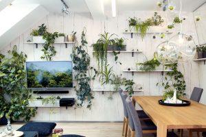 Živý obývací pokoj. Interiér bytu si Dorotea přirozeně navrhla sama, vestylu, který nazvala zútulněnou modernou. Výsledek však ovlivňoval i její manžel, protože se o design intenzivně zajímá. Především vobývacím pokoji hrají důležitou roli zelené rostliny – designérka je do interiéru začlenila jednoduchým, apřitom efektním způsobem. Foto Róbert Žákovič