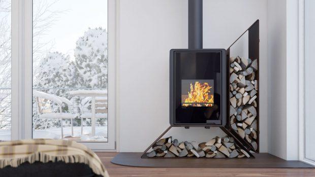 Krbová kamna FLAMINGO DELUXE přinášejí nadčasové atraktivní tvary sostrými křivkami azajímavě řešeným zásobníkem dřeva.