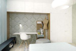 Povrch stěny za pracovním koutem tvoří malba dekorovaná válečkovým vzorem. NÁVRH MICHAL ONDREJČO