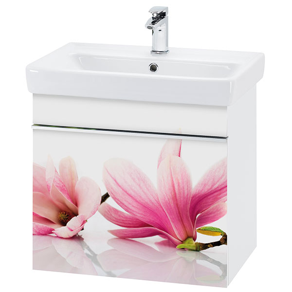Koupelnový model VISION, čelní plocha sklo, motiv Orchidej (Dřevojas)
