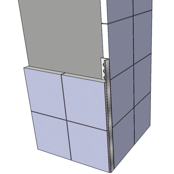 Detail umístění ukončovací lišty mezi obkladačky.
