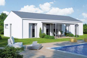 Přízemní dům s francouzskými okny, díky kterým je zahrada téměř součastí interiéru