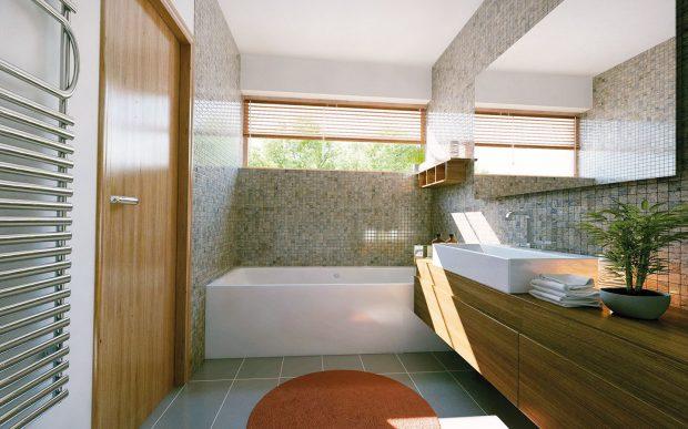 K dobrému oddělení soukromí a zajištění moderní dispozice domu je pokoj rodičů vybaven vlastní koupelnou se záchodem i bidetem. zdroj: Bc. Jiří Bosák