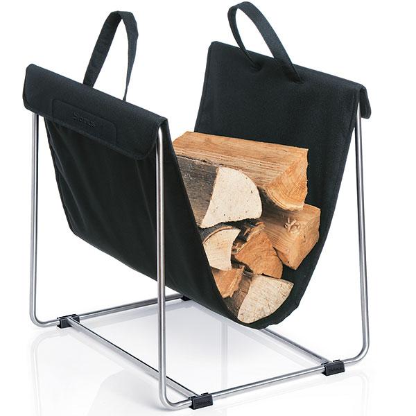 Koš na dřevo MADRA svyjímatelným nerezovým ocelovým stojánkem