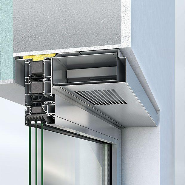 Efektivní systémové řešení pro decentralizované větrání představuje SchücoVentoTherm. Jde ovětrání srekuperací tepla bez otevření okna integrované do okenního rámu. Zabezpečují se jím optimalizace spotřeby energie (systém snižuje energetické ztráty způsobené odvětráváním až o35 %), interiérového klimatu akvality vzduchu (obsahuje pylový filtr). Zapínání avypínání systému atéž volba intenzity větrání se děje prostřednictvím ovladače integrovaného do rámu okna.